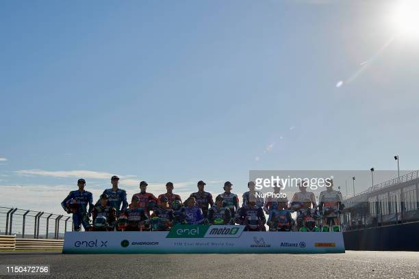 Official photo with all the pilots Lorenzo Savadori and Matteo Ferrari of Italy and TRENTINO Gresini MotoE, Hector Garzo of Spain and Kenny Foray of...