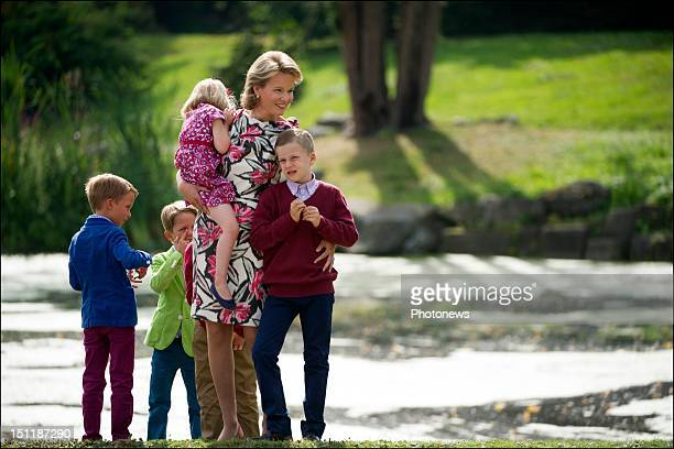 Official photoshoot of the Belgian Royal Family Princess Mathilde pictured with her kids Gabriel Elisabeth Eleonore and Emmanuel during the official...