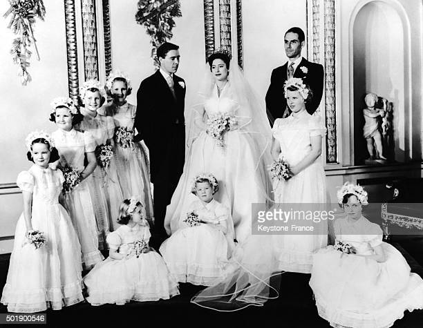 Official picture of the wedding Of Princess Margaret With Antony Armstrong Jones surrounded by Princess Ann on right Best Man Roger Gilliat standing...