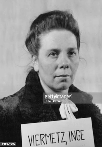 Official police photograph of Inge Viermetz the only woman defendant being tried in the RuSHA Nuremberg Trials she is the former deputy chief of the...