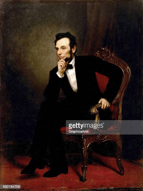 Official portrait of Abraham Lincoln seated with his hand to his chin by George PA Healy 1869