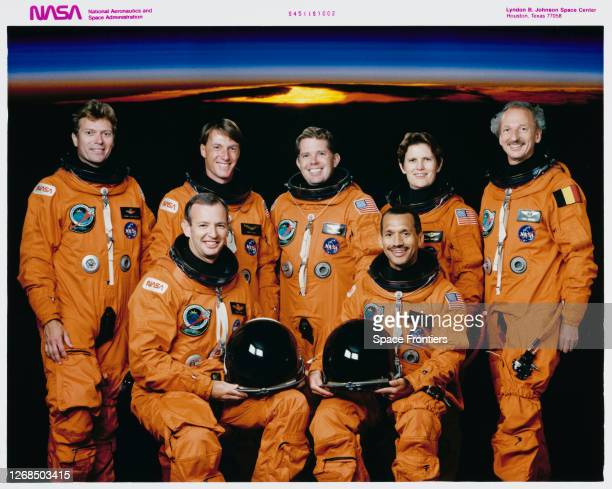 Official portrait of the crew of Space Shuttle Mission STS45 American NASA astronaut Byron K Lichtenberg American NASA astronaut Brian Duffy...
