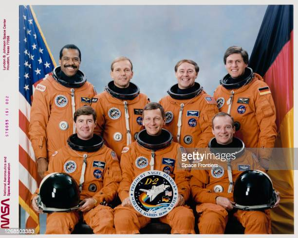 Official portrait of the crew of Space Shuttle Mission STS55 American NASA astronaut Bernard A Harris American NASA astronaut Terence T Henricks...