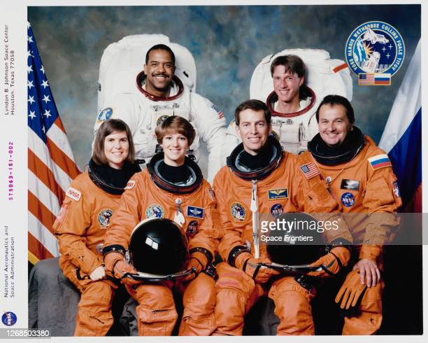Official portrait of the crew of Space Shuttle Mission STS63 American NASA astronaut Janice E Voss American NASA astronaut Bernard A Harris Eileen M...