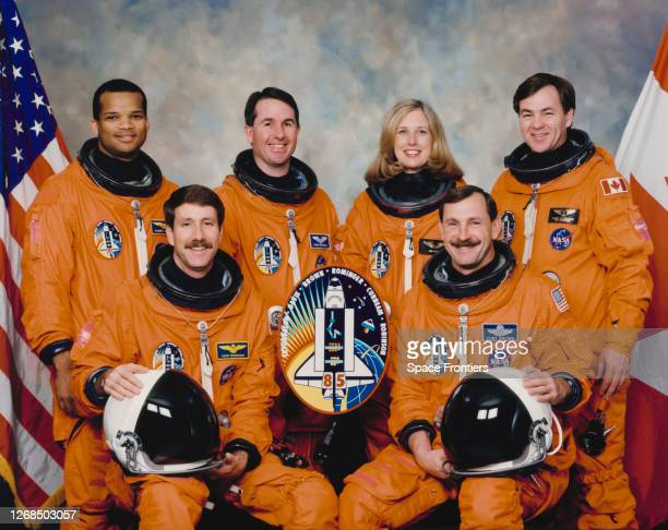 Official portrait of the crew of Space Shuttle Mission STS85 American NASA astronaut Robert L Curbeam Jr American NASA astronaut Kent V Rominger...