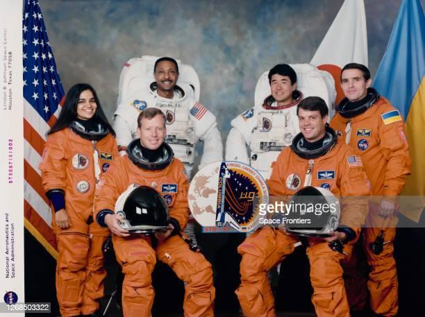 Official portrait of the crew of Space Shuttle Mission STS87 American NASA astronaut Kalpana Chawla Steven Lindsey Winston E Scott Japanese NASDA...