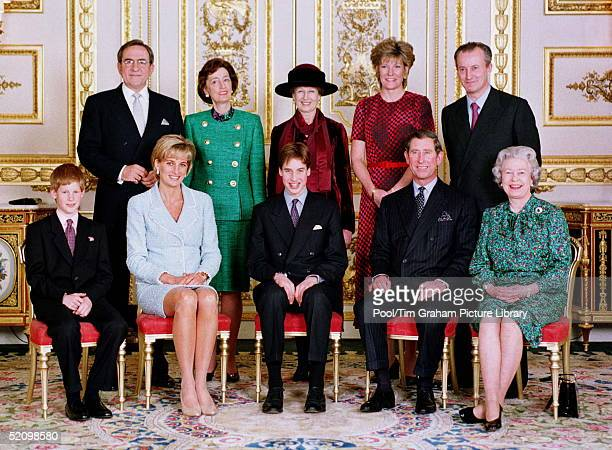 Official Portrait Of The Royal Family On The Day Of Prince William's Confirmation Front Left To Right Prince William Princess Diana Prince William...