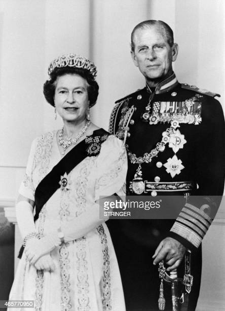 Official portrait released in June 1987 and taken at Buckingham Palace shows Britain's Queen Elizabeth II and and Prince Philip, Duke of Edinburgh.