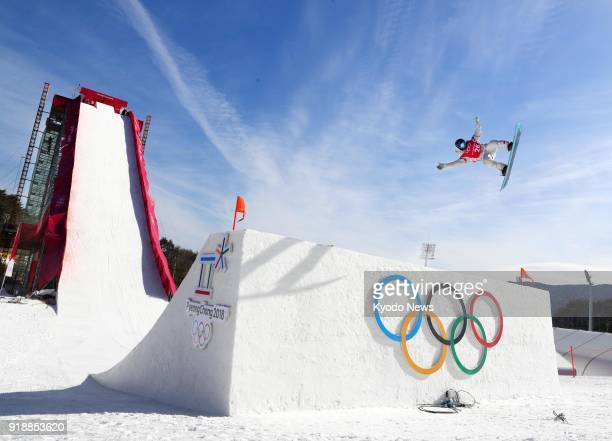 Official practice is held for the big air a newly introduced snowboarding event at the Pyeongchang Winter Olympics in South Korea on Feb 16 2018...