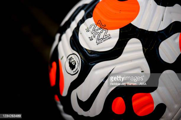Official Premier League Nike Strike Aerowsculpt 21/22 match ball during the Pre Season Friendly between Manchester City and Preston North End at...