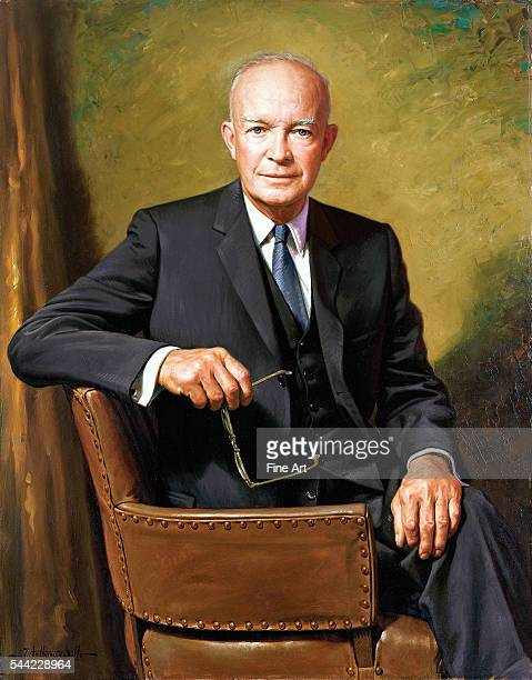 Official presidential portrait of President Dwight D. Eisenhower by James Anthony Wills , oil on canvas, White House Collection, Washington, D.C.