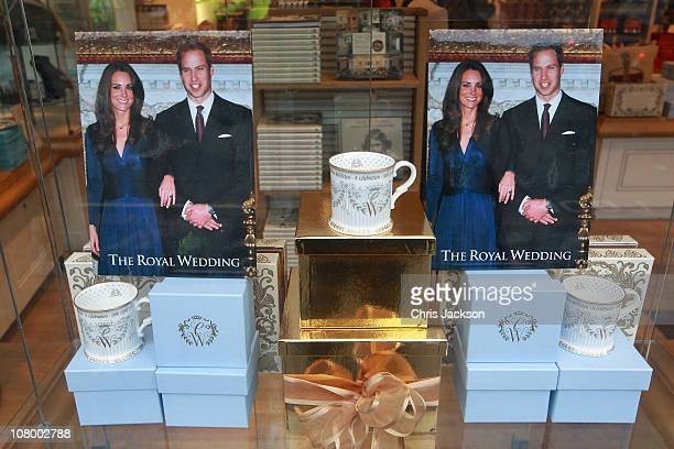 Official Prince William and Catherine Middleton memorabilia is for sale in the window of the Buckingham Palace Shop on January 11 2011 in London...