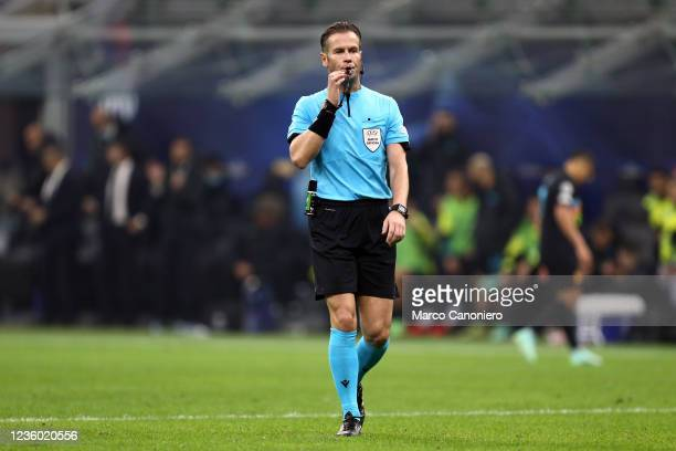 Official referee , Danny Makkelie, looks on during the Uefa Champions League Group D match between FC Internazionale and FC Sheriff. Fc...