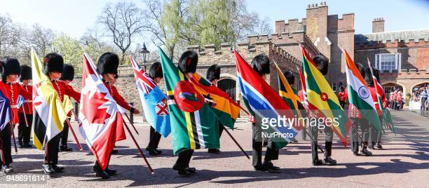 Official Royal Guard welcome of the Commonwealth Heads of Government arriving to the Executive Session of the Commonwealth Heads of Government in...
