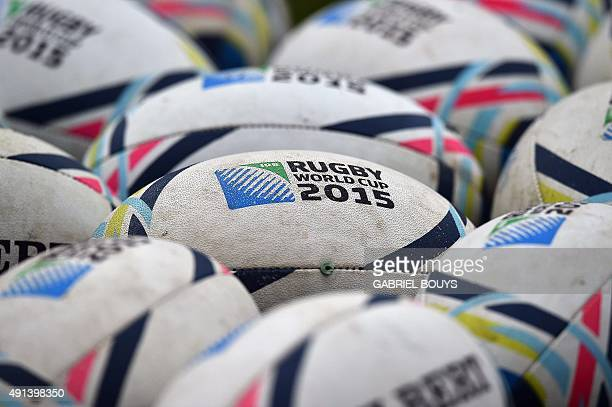 Official rugby balls lie on the ground during a New Zealand team training session in Darlington north east England on October 5 2015 during the 2015...