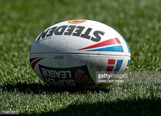 Official rugby match ball of the Super League Rugby a XIII match between Catalan Dragons and Wigan Warriors at Nou Camp on May 18, 2019 in Barcelona,...