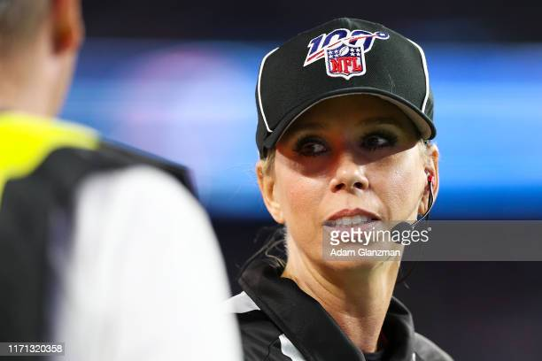 Official Sarah Thomas looks on during a game against the New England Patriots at Gillette Stadium on August 29 2019 in Foxborough Massachusetts