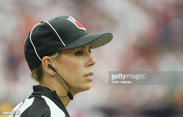 NFL official Sarah Thomas waits on the field during the game between the Kansas City Chiefs and Houston Texans at NRG Stadium on September 13 2015 in...