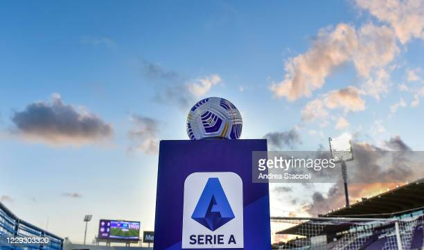 Official Serie A ball over a pedestal with Serie A logo printed is seen prior the Serie A football match between ACF Fiorentina and Udinese Calcio....