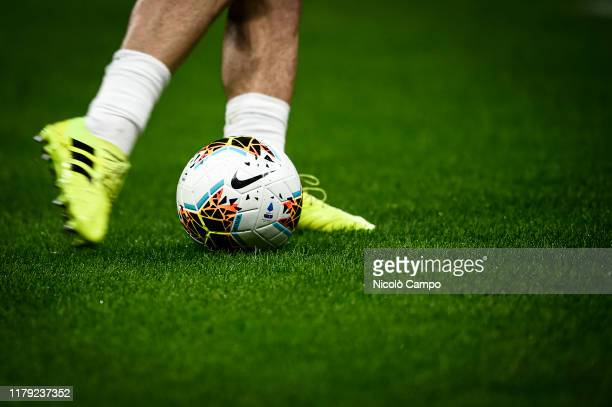 Official Serie A match ball Nike Merlin is kicked during warm up prior to the Serie A football match between AC Milan and SPAL. AC Milan won 1-0 over...