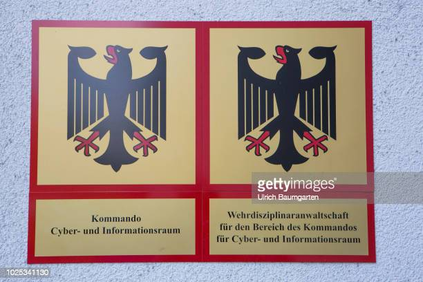 Official signs of the Command Cyber and Informationroom of the Bundeswehr in Bonn