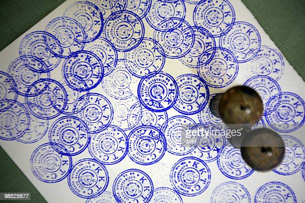 Official stamps are seen at an election hall during leadership elections in the Turkish occupied area of Famagusta on April 18 2010 Turkish Cypriots...