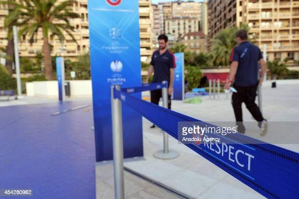 Official strip of UEFA is seen prior to the UEFA Champions League draw at the Grimaldi Forum building in Monaco on August 27 2014 The 32 clubs 22 of...