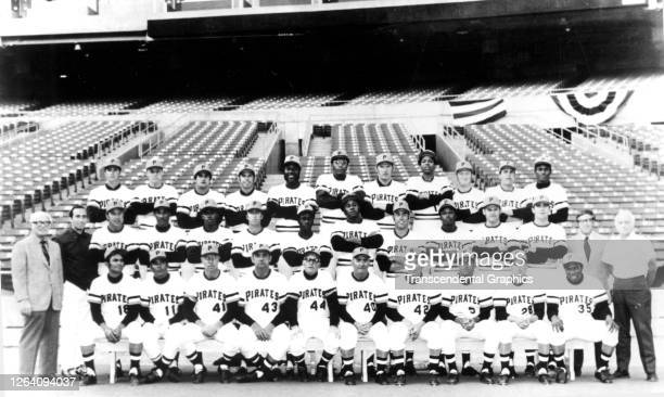 Official team portrait of members of the Pittsburgh Pirates baseball team as they pose on the field at Three Rivers Stadium Pittsburgh Pennsylvania...