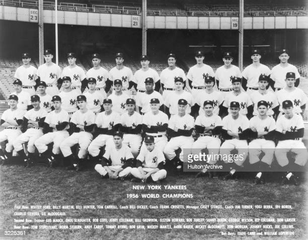 Official team portrait of the New York Yankees World Championship baseball team posing in rows and wearing their uniforms The team was managed by...