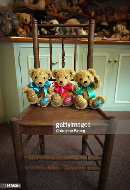 Official teddy bears commemorating the 2012 London Olympics sit in the shop of the Merrythought teddy bear factory on April 5 2011 in Ironbridge...