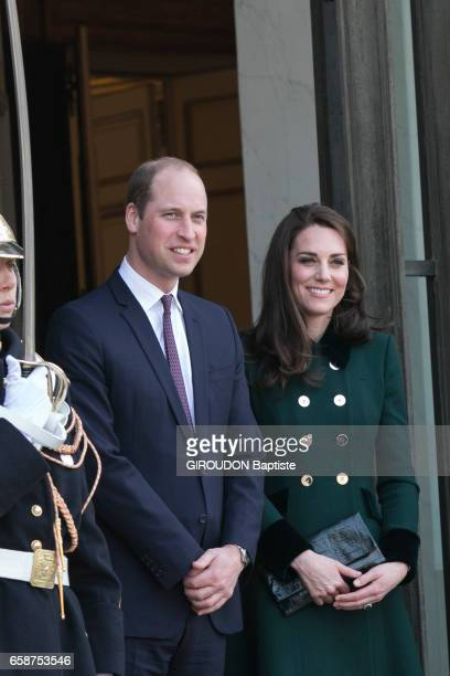 Official travel of prince William of England and Catherine the duke and duchess of Cambridge at the Elysee Palace with the French President Francois...