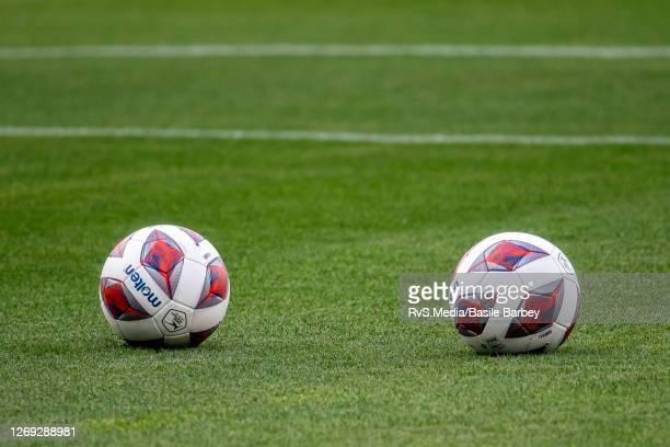 Official UEFA Europa League balls prior the UEFA Europa League qualification match between Servette FC and MFK Ruzomberok at Stade de Geneve on...