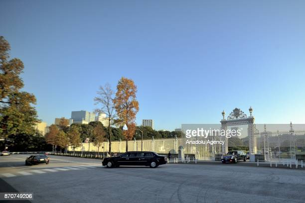 Official vehicles carrying US President Donald Trump and his wife Melania Trump leave the Akasaka Palace after meeting the people those abducted by...