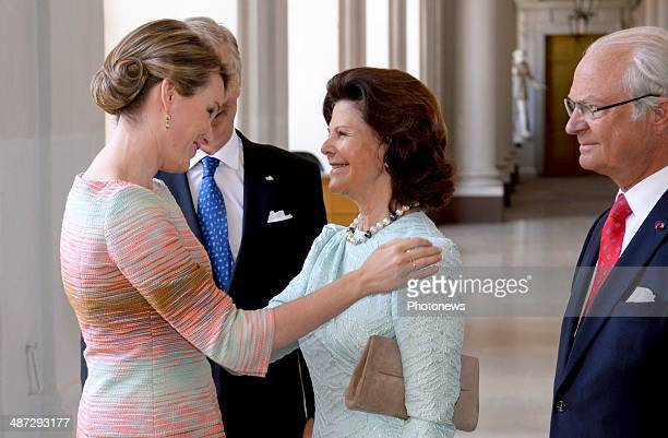 Official visit of Belgian Sovereigns to Sweden on April 29 2014 in Stockholm Sweden Queen Mathilde pictured with King Carl Gustaf and Queen Silvia