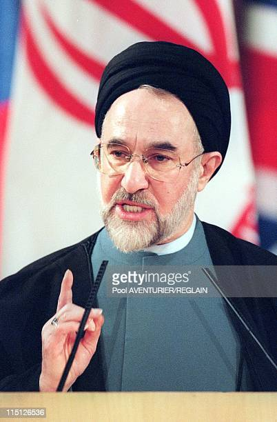 Official visit of Iranian president Khatami in Paris, France on October 29, 1999 - Iranian President Mohammad Khatami adresses the General Conference...