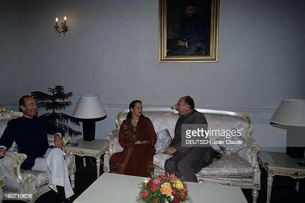 Official Visit Of Karim Aga Khan In Pakistan Au palais d'Islamabad dans la résidence des hôtes officiels Amyn AGA KHAN assis dans un fauteuil en...