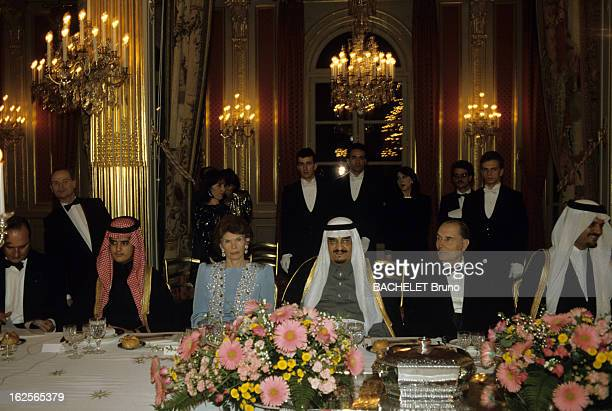 Official Visit Of King Fahd Of Saudi Arabia Paris 16 Avril 1987 Lors de la visite officielle du roi Fahd Ben Abdelaziz AL SAOUD d'Arabie Saoudite au...