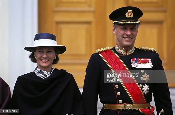 Official visit of King Harald and Queen Sonia of Norway In Bonn Germany On April 18 1994King Harald and Queen Sofia