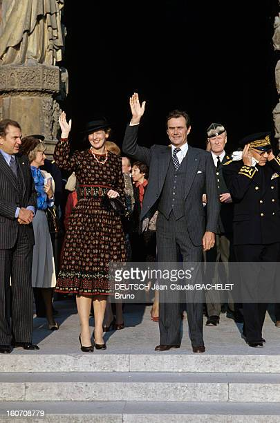 Official Visit Of Margrethe And Henrik Of Denmark In France En France en Champagne en octobre 1978 lors d'une visite officielle la Reine Margrethe II...