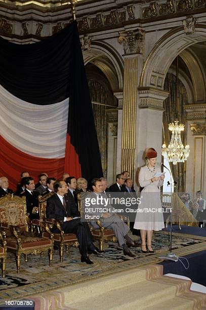 Official Visit Of Margrethe And Henrik Of Denmark In France En France à Paris en octobre 1978 lors d'une visite officielle Jacques CHIRAC maire de...