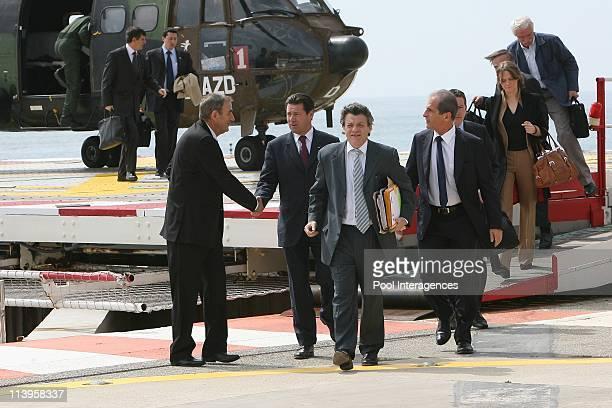 Official visit of Nicolas Sarkozy reception at the palace by the Prince Albert II in Monte Carlo Monaco on April 25 2008Jean Louis Borloo