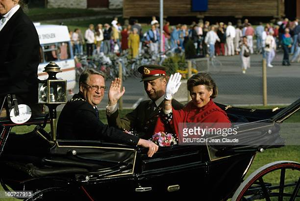 Official Visit Of The King Of Norway Harald V And His Wife Queen Sonja In Hamar Norvège Hamar Juin 1991 Lors de leur visite officielle le roi HARALD...