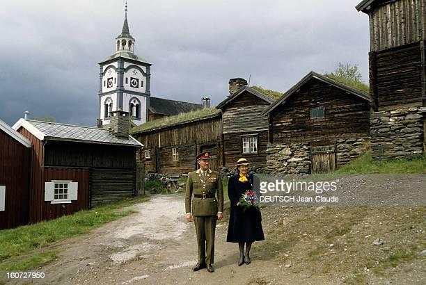 Official Visit Of The King Of Norway Harald V And His Wife Queen Sonja In Elverum Norvège Comté d'Hedmark Elverum Juin 1991 Lors de la visite...