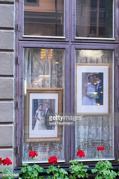 Official wedding photos are displayed of Crown Princess Victoria of Sweden and her husband Prince Daniel of Sweden and also Princess Madeleine of...