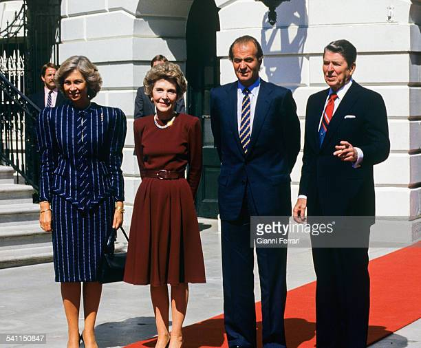 Official welcome of the American President Ronald Reagan and his wife Nancy at the White House to the Spanish Kings Juan Carlos of Borbon and Sofia...