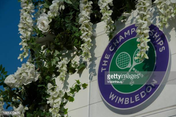 Official Wimbledon branding on day twelve of the Wimbledon Lawn Tennis Championships at the All England Lawn Tennis and Croquet Club on July 14 2018...