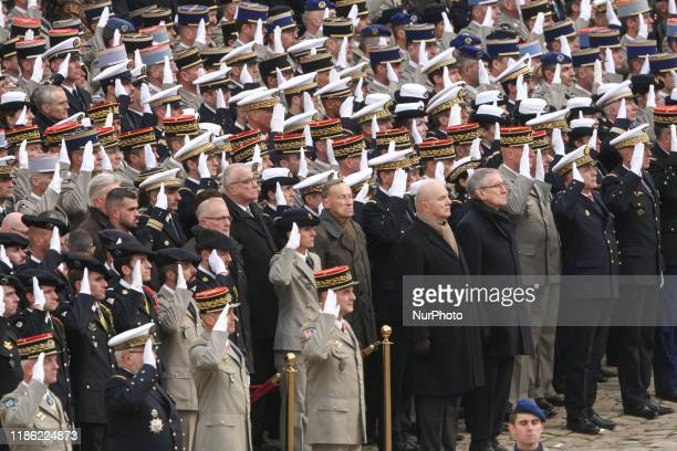 Officials and relatives attend a tribute ceremony on December 2, 2019 at the Invalides monument, in Paris, for the 13 French soldiers killed in Mali....