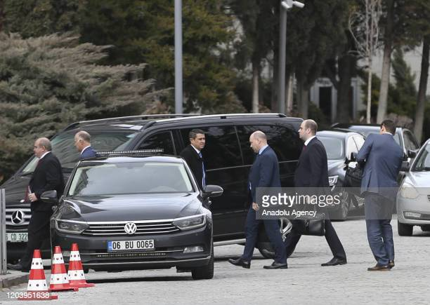 Officials arrive at Foreign Ministry building for the third day of the third round of talks on Syria in Ankara Turkey on February 28 2020 The...