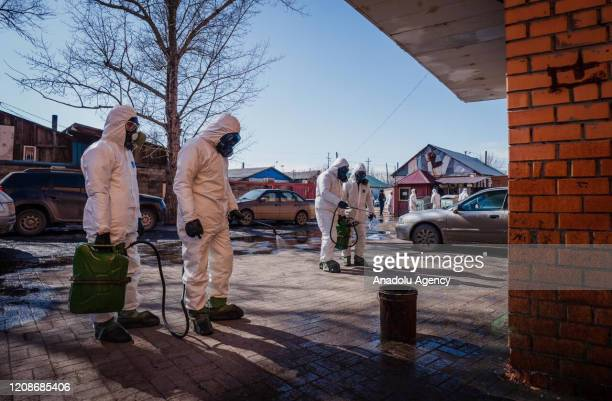Officials continue to carry out disinfection works across the city within coronavirus measures on March 30, 2020 in Astana Kazakhstan. The Kazakhstan...