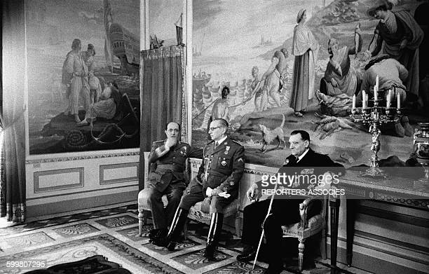 Officials During The Meeting Between Sultan Ben Yusef Of Morocco And General Francisco Franco In Madrid Spain In April 1956